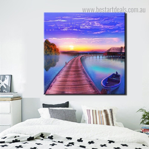 Bridge Seascape Nature Modern Framed Painting Pic Canvas Print for Room Wall Assortment