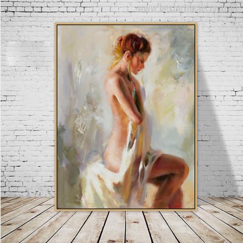 Half Nude Girl Elegant Watercolor Painting Print for Wall Decor