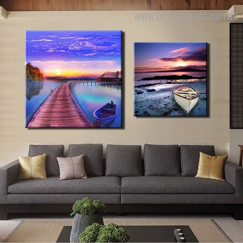 Timbered Boats Seascape Nature Modern Framed Painting Picture Canvas Print for Room Wall Disposition