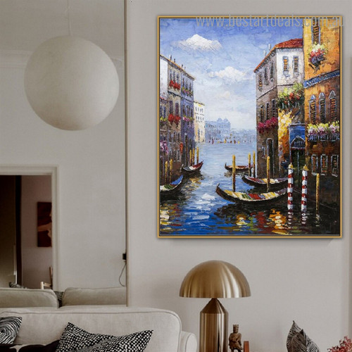 Sea Harbour Nature Modern Framed Painting Photo Canvas Print for Wall Hanging Decor