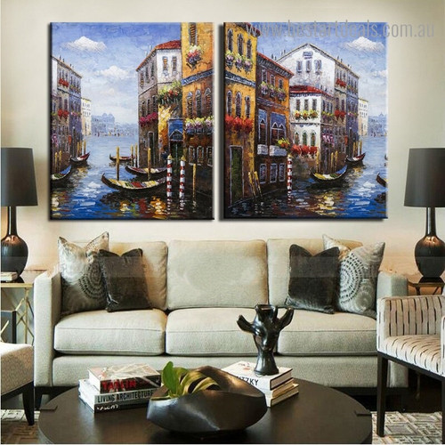 View of Harbours Abstract Nature Modern Framed Artwork Photograph Canvas Print for Room Wall Adornment