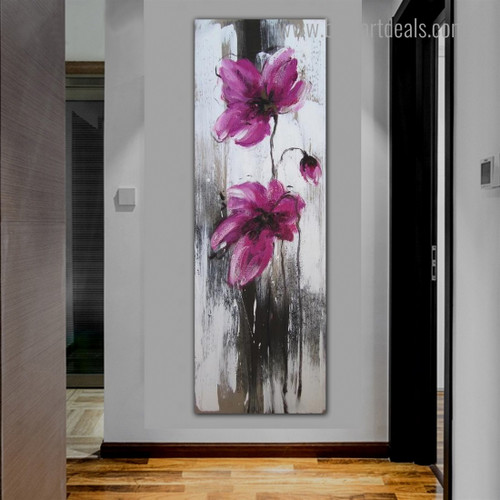 Pink Flowerets Abstract Floral Framed Painting Picture Canvas Print for Room Wall Outfit