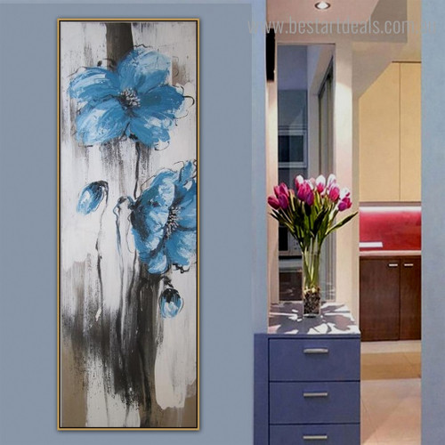 Blue Blossoms Abstract Botanical Framed Artwork Pic Canvas Print for Room Wall Onlay