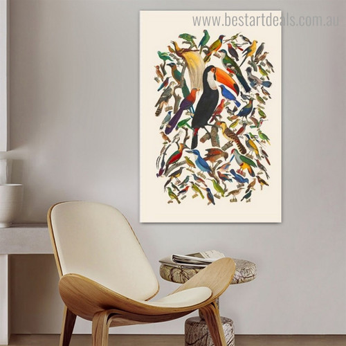 Toco Toucan Bird Abstract Modern Framed Painting Picture Canvas Print for Room Wall Ornament