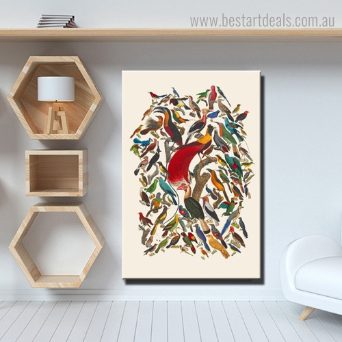 Congo Grey Parrot Bird Abstract Modern Framed Painting Image Canvas Print for Room Wall Outfit