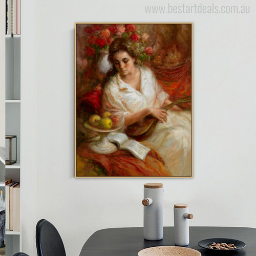 Guitarist Girl with Pretty White Dress Watercolor Painting Print for Dining room