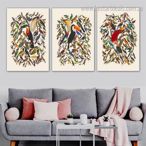 Birds Group Abstract Modern Framed Artwork Portrait Canvas Print for Room Wall Finery