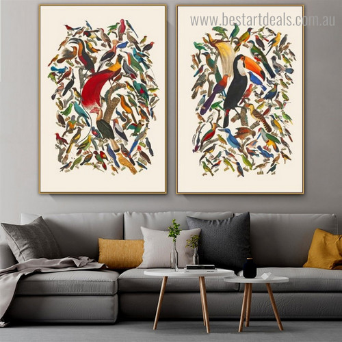 Particoloured Birds Cluster Abstract Modern Framed Artwork Picture Canvas Print for Room Wall Finery