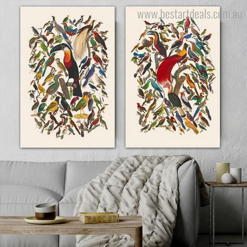 Motley Birds Group Abstract Modern Framed Artwork Photo Canvas Print for Room Wall Garnish