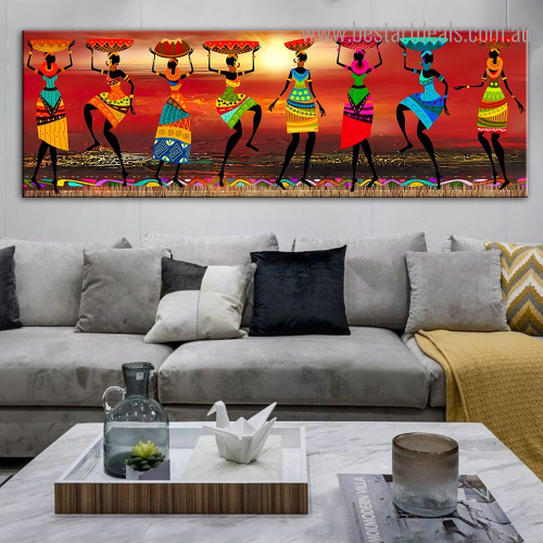 African Woman Abstract Framed Painting Portrait Canvas Print for Room Wall Outfit