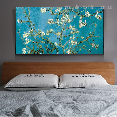 Almond Flower Van Gogh Impressionist Framed Artwork Photo Canvas Print for Room Wall Decoration