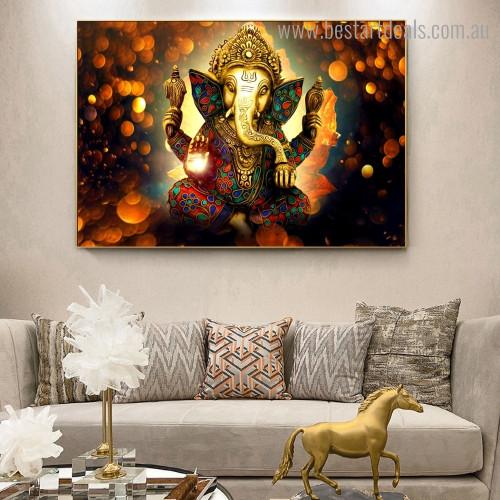 God Ekadanta Hindu Religious Modern Framed Painting Portrait Canvas Print for Room Wall Ornament
