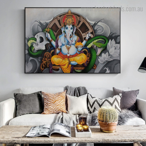 God Gajanana Hindu Religious Contemporary Framed Artwork Photo Canvas Print for Room Wall Flourish