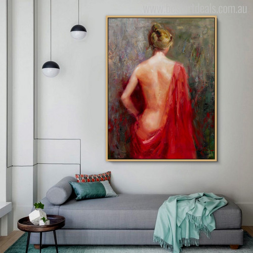 Stern Bare Girl with Red Colour Dress Painting Print for Living Room Decor