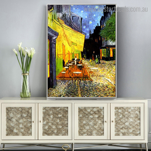 Cafe Terrace at Night Van Gogh Impressionist Framed Artwork Picture Canvas Print for Room Wall Onlay