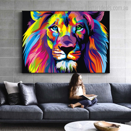 Dapple Lion Face Abstract Animal Watercolor Framed Painting Photo Canvas Print for Room Wall Assortment
