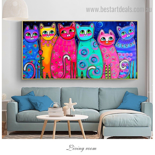 Colorful Cats Abstract Animal Kids Framed Artwork Picture Canvas Print for Room Wall Onlay
