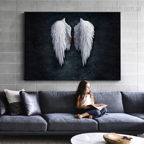 Angel Wings Abstract Framed Artwork Portrait Canvas Print for Room Wall Decor