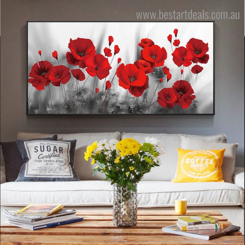 Red Poppy Blossoms Floral Abstract Framed Painting Photo Canvas Print for Room Wall Ornament