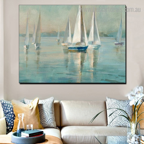 Sea Sailboats Abstract Seascape Modern Framed Artwork Pic Canvas Print for Room Wall Getup