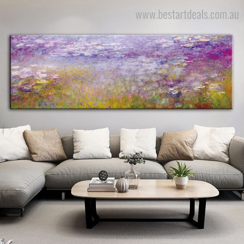 Water lilies II Monet Panoramic Impressionist Framed Artwork Pic Canvas Print for Room Wall Ornament