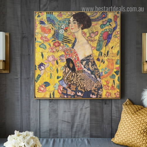 Lady with Fan Gustav Klimt Reproduction Figure Framed Painting Pic Canvas Print for Room Wall Garnish