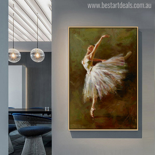 Ballerina Dancer Dance in White Dress Painting Print for Living Room Wall Art