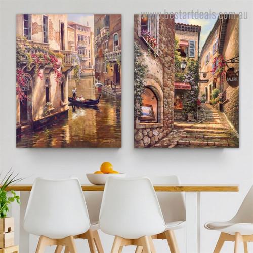 Venice Landscape Cityscape Modern Framed Artwork Image Canvas Print for Room Wall Decor