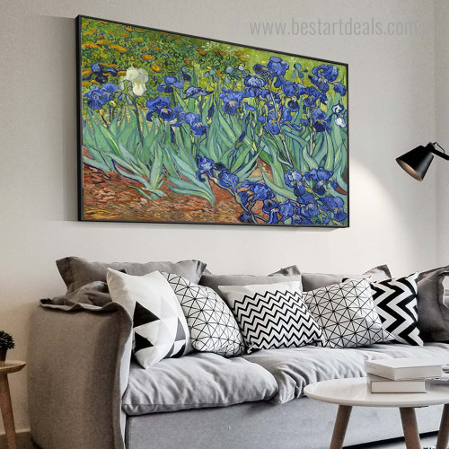 Irises Van Gogh Botanical Impressionist Framed Painting Photograph Canvas Print for Room Wall Adornment