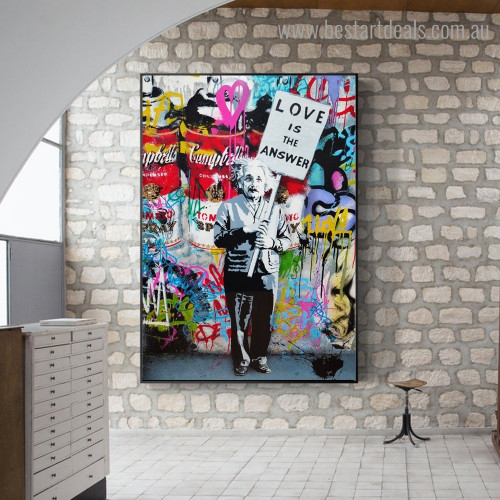 Love Quote Graffiti Framed Artwork Pic Canvas Print for Room Wall Drape