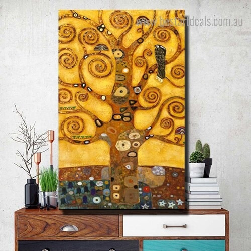 Tree of Life Gustav Klimt Reproduction Framed Painting Pic Canvas Print for Room Wall Getup