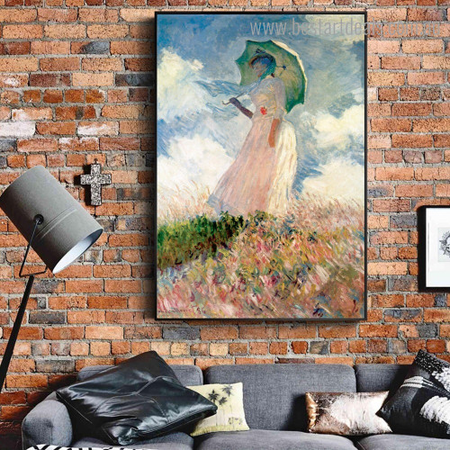 Woman with Parasol Monet Reproduction Landscape Framed Painting Photo Canvas Print for Room Wall Embellishment