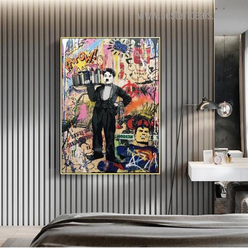 Charlie Chaplin Abstract Street Art Framed Artwork Photo Canvas Print for Room Wall Assortment