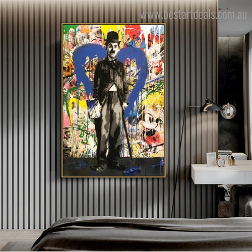 Charlie Chaplin Painter Abstract Street Art Framed Painting Portrait Canvas Print for Room Wall Outfit