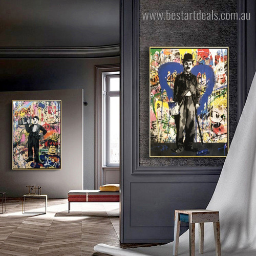 Chaplin Painter Abstract Graffiti Framed Painting Image Canvas Print for Room Wall Getup