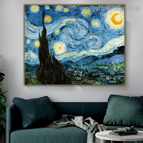 Starry Night 1889 Van Gogh Reproduction Framed Painting Pic Canvas Print for Room Wall Decoration