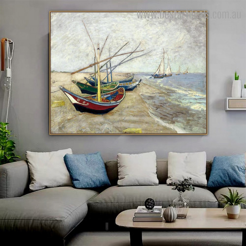 Fishing Boats Van Gogh Reproduction Framed Painting Image Canvas Print for Room Wall Garnish