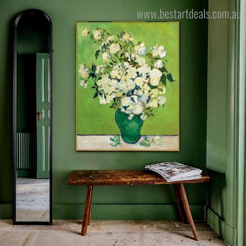Roses Van Gogh Reproduction Framed Artwork Portrait Canvas Print for Room Wall Equipment