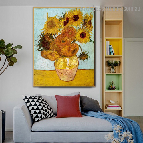 Sunflowers II Van Gogh Reproduction Framed Artwork Pic Canvas Print for Room Wall Onlay