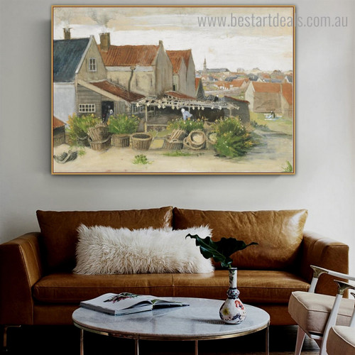 Fish Drying Barn Van Gogh Reproduction Framed Artwork Pic Canvas Print for Room Wall Finery