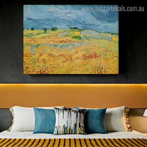 Fields with Blooming Van Gogh Reproduction Framed Artwork Photo Canvas Print for Room Wall Onlay