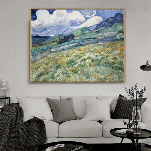 Landscape Saint Rémy Van Gogh Reproduction Framed Painting Image Canvas Print for Room Wall Outfit