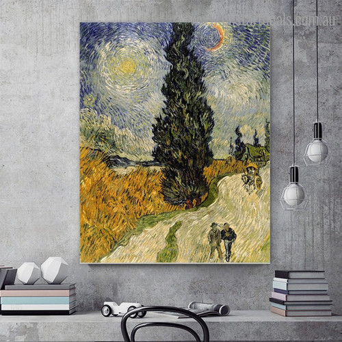 Cypress under Sky Van Gogh Reproduction Framed Painting Portrait Canvas Print for Room Wall Adornment