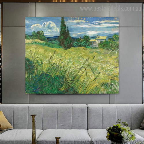 Field with Cypress Van Gogh Botanical Reproduction Framed Painting Picture Canvas Print for Room Wall Decor