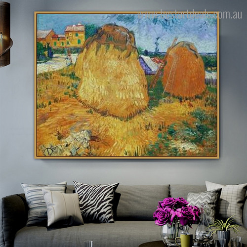 Haystacks in Provence Van Gogh Reproduction Framed Painting Photo Canvas Print for Room Wall Adornment