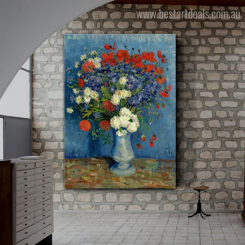 Cornflowers and Poppies Van Gogh Botanical Reproduction Framed Artwork Portrait Canvas Print for Room Wall Equipment