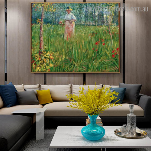 Woman Garden Van Gogh Botanical Reproduction Framed Painting Picture Canvas Print for Room Wall Ornament