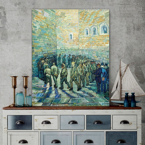 Prisoners Round Van Gogh Reproduction Framed Painting Picture Canvas Print for Room Wall Garnish