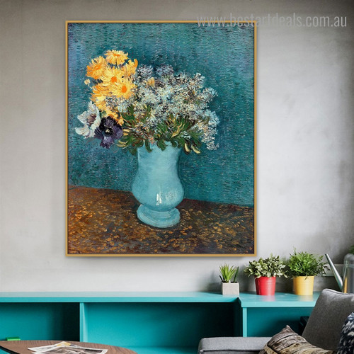 Vase of Flowers Van Gogh Reproduction Framed Painting Picture Canvas Print for Room Wall Assortment