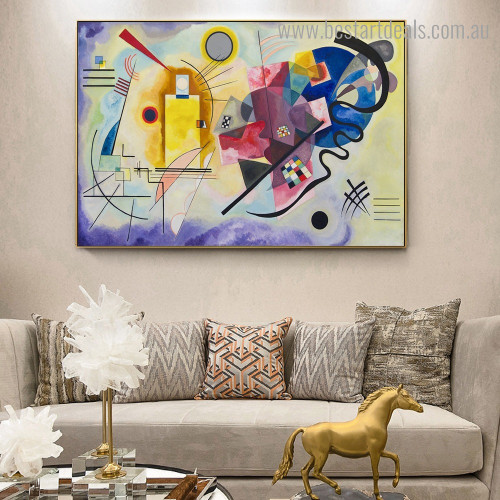 Yellow Red Blue Abstract Wassily Kandinsky Framed Painting Photo Canvas Print for Room Wall Onlay